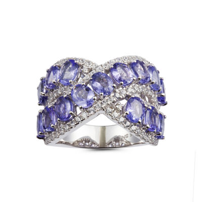 Womens Blue Tanzanite Sterling Silver Bypass Ring
