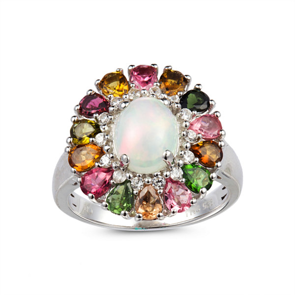 Womens White Opal Sterling Silver Cluster Ring
