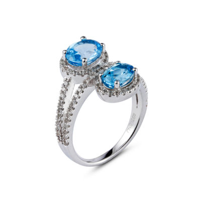 Womens Blue Blue Topaz Sterling Silver Bypass Ring