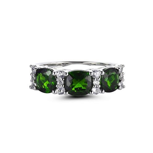 Womens Green Chrome Diopside Gold Over Silver 3-Stone Ring