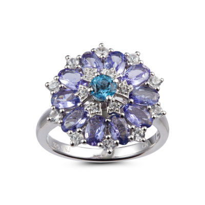 Womens Blue Topaz Sterling Silver Flower Cluster Ring