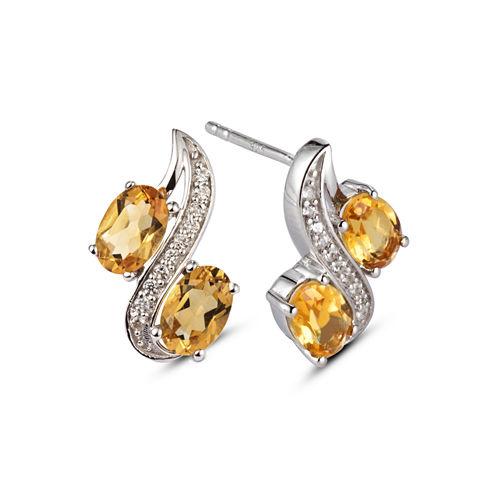 Oval Yellow Citrine Sterling Silver Stud Earrings