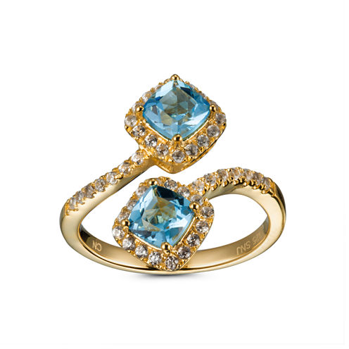 Womens Blue Topaz Gold Over Silver Bypass Ring