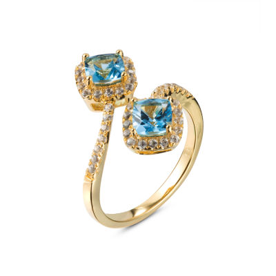 Womens Blue Blue Topaz Gold Over Silver Bypass Ring