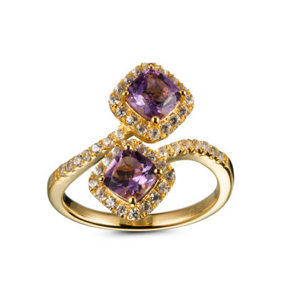 Womens Purple Amethyst 14K Gold Over Silver Bypass  Cocktail Ring