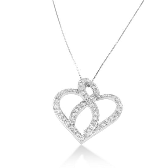 Womens 1 CT. T.W. Genuine White Diamond 14K Gold Heart Pendant Necklace