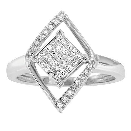 Womens 1/3 CT. T.W. White Diamond 10K Gold Cluster Ring