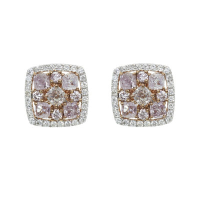 1 1/3 CT. T.W. Genuine Pink Diamond 18K Gold Stud Earrings