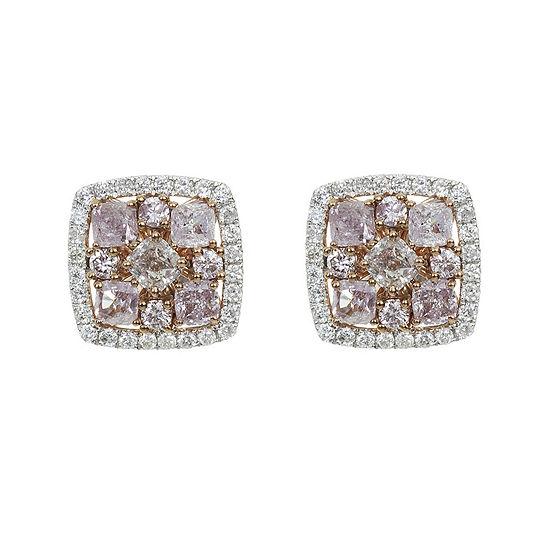 1 1/3 CT. T.W. Genuine Pink Diamond 18K Gold Stud Earrings