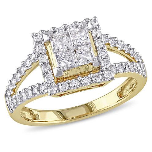 1 CT. T.W. Princess White Diamond 14K Gold Engagement Ring