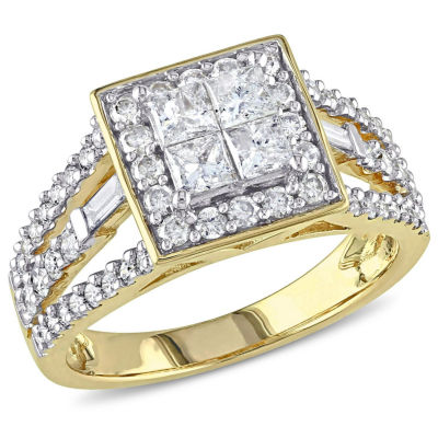1 1/2 CT. T.W. Princess White Diamond 14K Gold Engagement Ring
