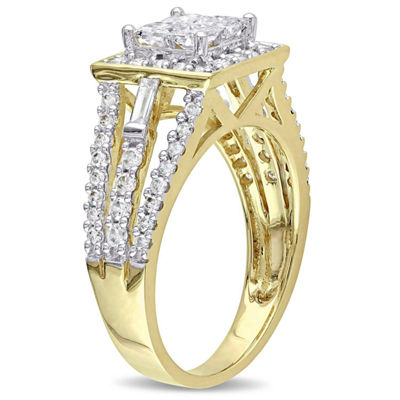 1 1/2 CT. T.W. Princess White Diamond 14K Gold Engagement Ring