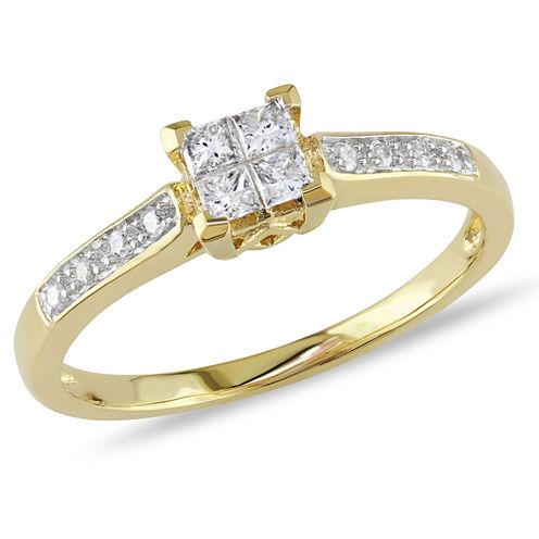 1/4 CT. T.W. Princess White Diamond 10K Gold Engagement Ring
