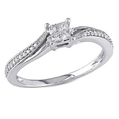 1/5 CT. T.W. Princess White Diamond 10K Gold Engagement Ring