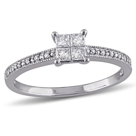 1/3 CT. T.W. Princess White Diamond 10K Gold Engagement Ring