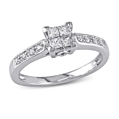 1/4 CT. T.W. Princess White Diamond 10K Gold Engagement Ring
