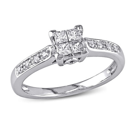 1 CT T W Diamond Engagement Ring 10K White Gold JCPenney