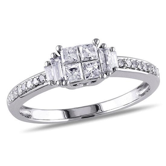1 2 Ct Tw Princess White Diamond 10k Gold Engagement Ring