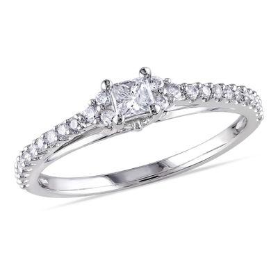 1/2 CT. T.W. Princess White Diamond 10K Gold