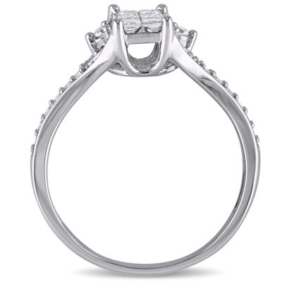 1/2 CT. T.W. Princess White Diamond 10K Gold Engagement Ring