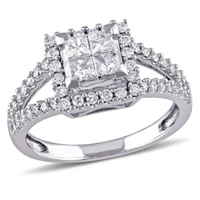 1 CT. T.W. Princess White Diamond 14K Gold Engagement Ring