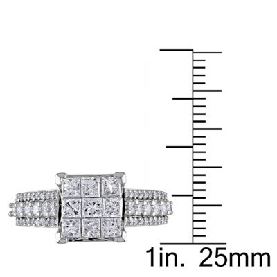 1 1/2 CT. T.W. Princess White Diamond 10K Gold Engagement Ring