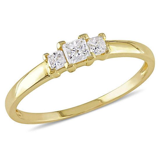 1/4 CT. T.W. Princess White Diamond 10K Gold 3-Stone Ring