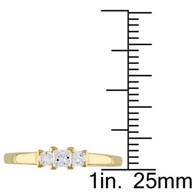 1/4 CT. T.W. Princess White Diamond 10K Gold 3-Stone Ring