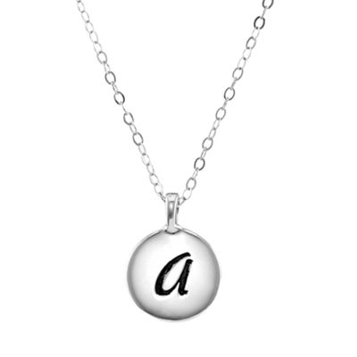 Personalized Sterling Silver Round Initial Disc Engraved Pendant Necklace