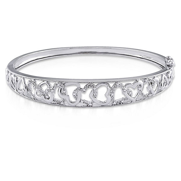 Womens Diamond Accent White Diamond Sterling Silver Bangle Bracelet