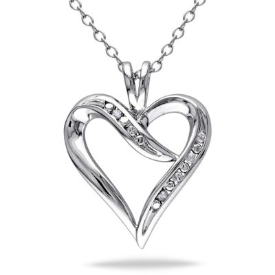 Womens Diamond Accent Genuine White Diamond Sterling Silver Heart Pendant Necklace Set