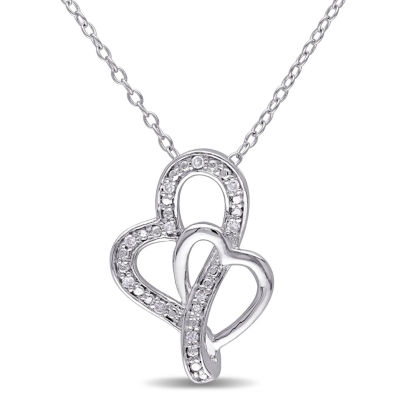 Womens Diamond Accent Genuine Diamond Sterling Silver Heart Pendant Necklace