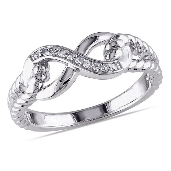 Womens Diamond Accent Genuine White Diamond Sterling Silver Infinity Cocktail Ring