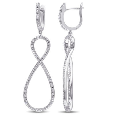 1/10 CT. T.W. Genuine White Diamond Sterling Silver Drop Earrings