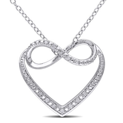 Womens White Diamond Accent Pendant Necklace