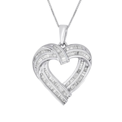 Womens 7/8 CT. T.W. White Diamond Sterling Silver Heart Pendant Necklace