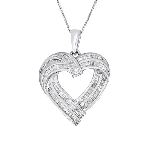 Womens 7/8 CT. T.W. White Diamond Sterling Silver Pendant Necklace
