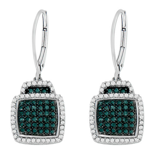 3/4 CT. T.W. Blue Diamond Drop Earrings