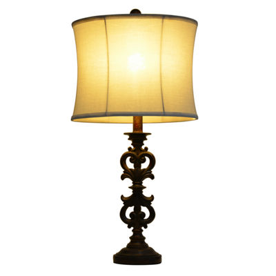 Décor Therapy Carved Wood Tone Table Lamp