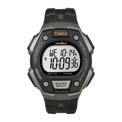 Timex® Ironman Mens Black Bezel Black Resin Strap 30-Lap Chronograph Sport Watch T5K8217R