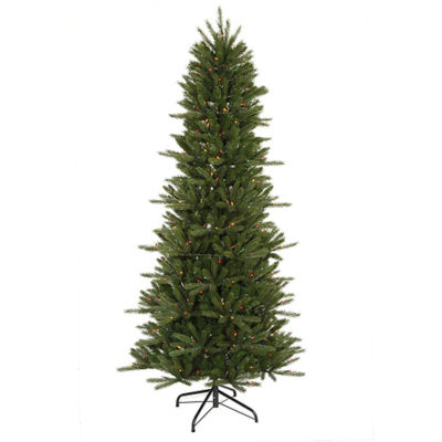 9.5' Pre-Lit Slim Vermont Fir Instant Shape Artificial Christmas Tree - Multi