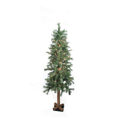 """9' x 52"""" Pre-Lit Traditional Woodland Alpine Artificial Christmas Tree - Clear Lights"""""""