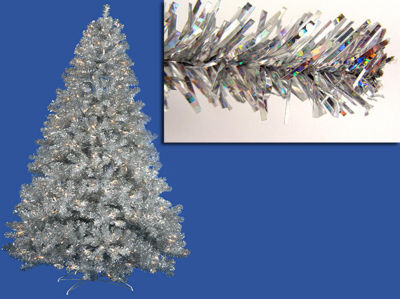 9' Pre-Lit Sparkling Silver Full Artificial Tinsel Christmas Tree - Clear Lights