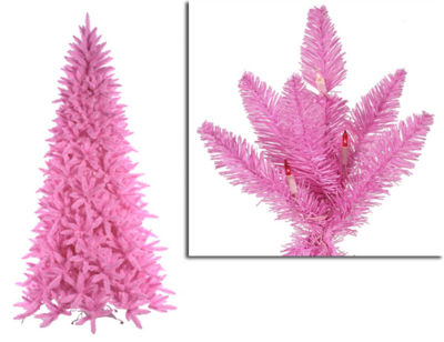 9' Pre-Lit Slim Pink Ashley Spruce Christmas Tree- Clear & Pink Lights