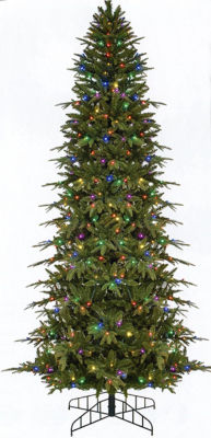 9' Pre-Lit Slim Palisade Artificial Christmas Tree - Multi LED Lights