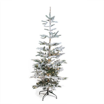 9' Pre-Lit Noble Fir Flocked Artificial ChristmasTree - Warm Clear LED Lights