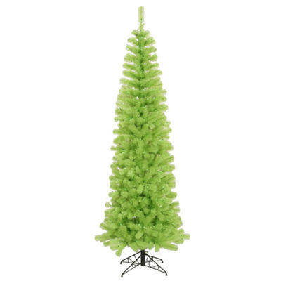 9' Pre-Lit Chartreuse Green Artificial Pencil Christmas Tree - Green Lights