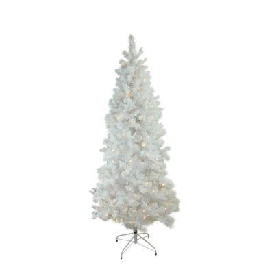 "7.5' x 43"" Pre-Lit Flocked White Pine Slim Artificial Christmas Tree - Warm White LED Lights"""