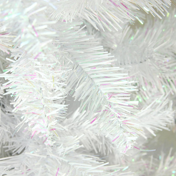 "7.5' x 34"" White Glimmer Iridescent Spruce Penci Artificial Christmas Tree - Unlit"