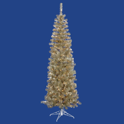 """7.5' x 34"""" Pre-Lit Champagne Gold Tinsel Artificial Christmas Tree - Clear Dura Lights"""""""